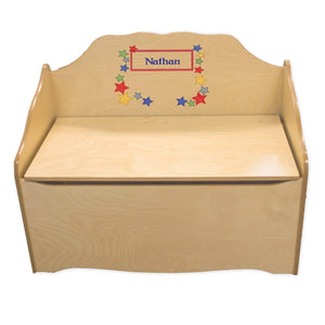 Personalized Stitched Stars Natural Toy Chest