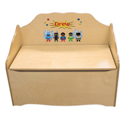 Personalized Superhero African American Boy Natural Toy Chest