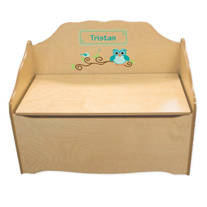 Personalized Blue Gingham Owl Natural Toy Chest