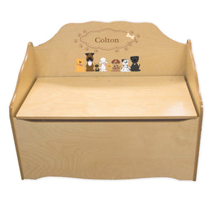 Personalized Brown Dogs Natural Toy Chest