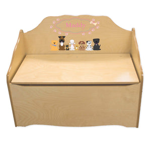 Personalized Pink Dog Natural Toy Chest