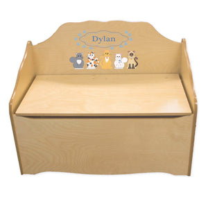 Personalized Blue Cats Natural Toy Chest
