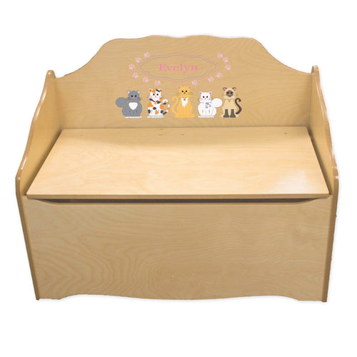 Personalized Pink Cats Natural Toy Chest