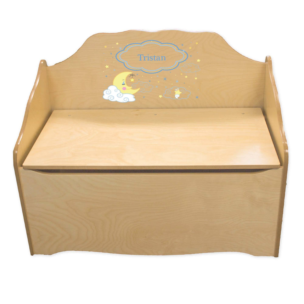 Personalized Moon and Stars Natural Toy Chest