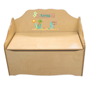 Personalized Surfs Up Natural Toy Chest