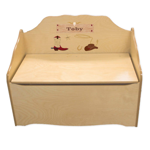 Personalized Wild West Natural Toy Chest