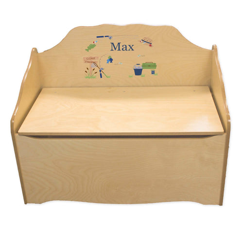 Personalized Gone Fishing Natural Toy Chest