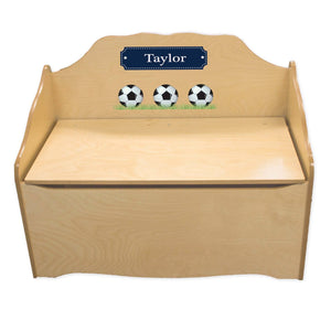 Personalized Soccer Natural Toy Chest