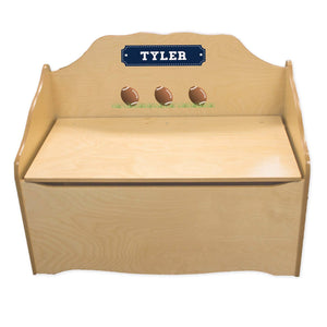 Personalized Football Natural Toy Chest