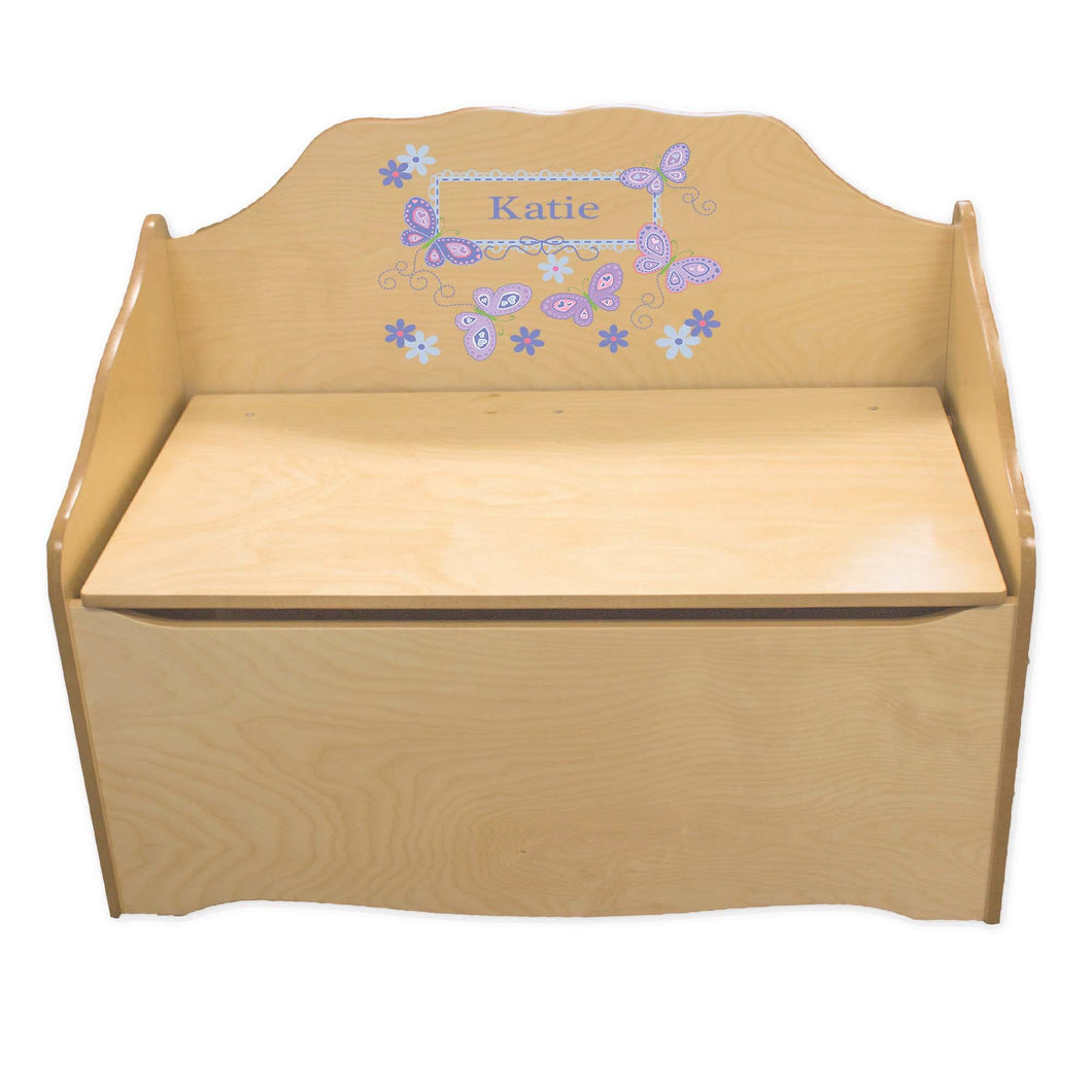 Personalized Butterflies lavender Natural Toy Chest