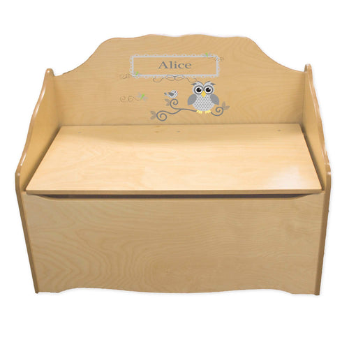Personalized Gray Owl Natural Toy Chest