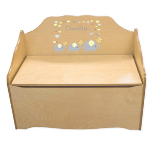 Personalized Yellow Elephants Natural Toy Chest