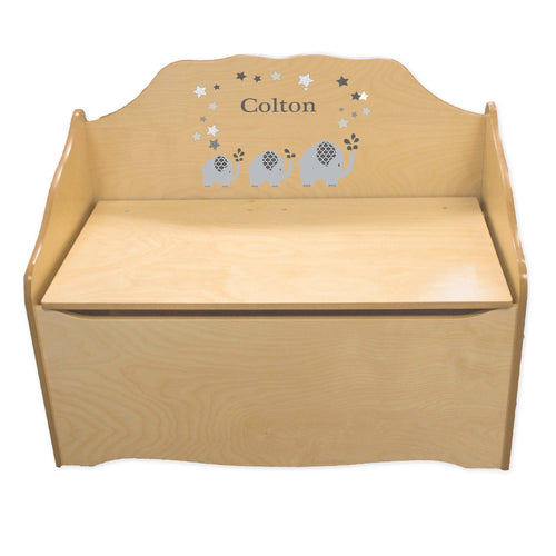 Personalized Gray Elephant Natural Toy Chest