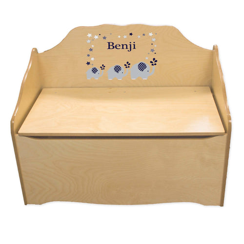 Personalized Navy Elephant Natural Toy Chest