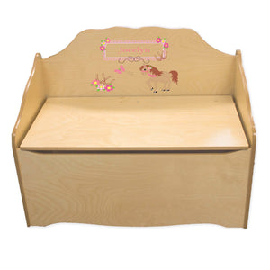 Personalized Ponies Prancing Natural Toy Chest