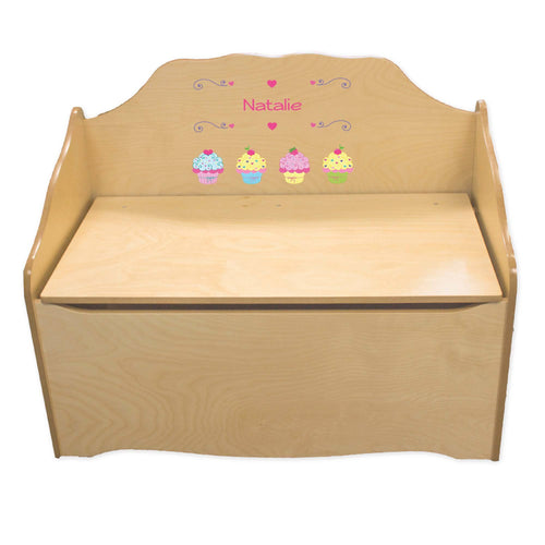 Personalized Cupcake Natural Toy Chest