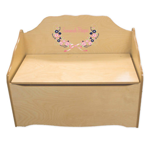 Personalized Navy Pink Floral Garland Natural Toy Chest