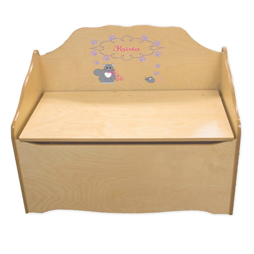 Personalized Kitty Cat Natural Toy Chest