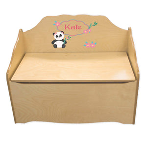 Personalized Panda Natural Toy Chest
