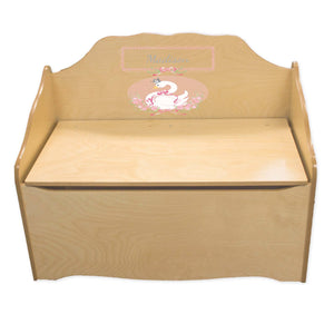 Personalized Swan Natural Toy Chest