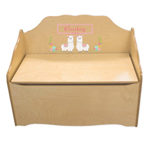 Personalized Alpaca Llama Natural Toy Chest