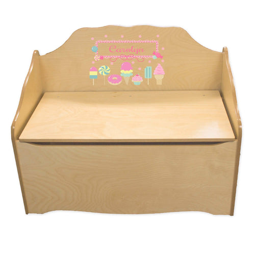 Personalized Sweet Treats Natural Toy Chest