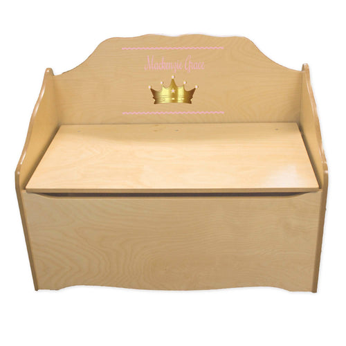 Personalized Pink Princess Crown Natural Toy Chest