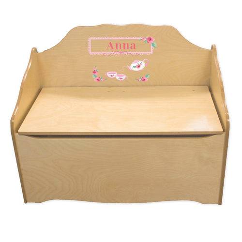 Personalized Tea Party Natural Toy Chest