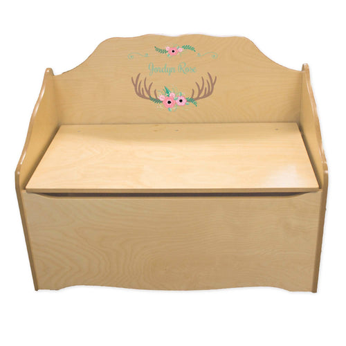 Personalized Floral Antler Natural Toy Chest