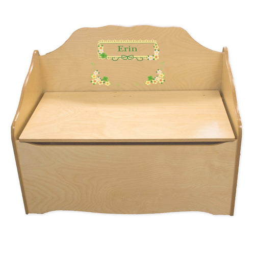 Personalized Shamrock Natural Toy Chest