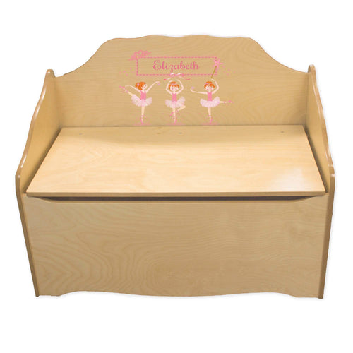 Personalized Ballerina Red Hair Natural Toy Chest