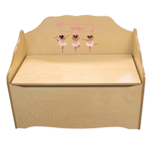 Personalized Ballerina African American Natural Toy Chest