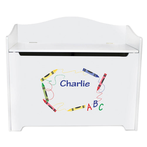 White Wooden Toy Box Bench with Crayon design