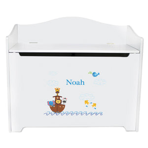 White Wooden Toy Box Bench with Noahs Ark design