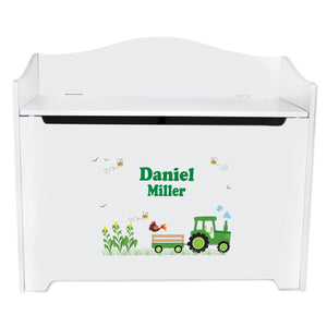 personalized green tractor toy box