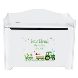 White Toy Box Bench - Green Tractor
