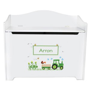 White Wooden Toy Box Bench with Green Tractor design