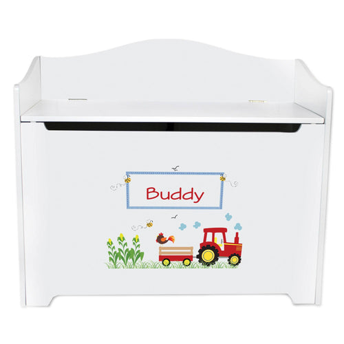 White Wooden Toy Box Bench with Red Tractor design