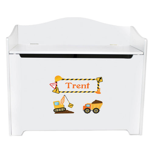 White Wooden Toy Box Bench with Construction design
