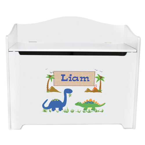 White Wooden Toy Box Bench with Dinosaurs design