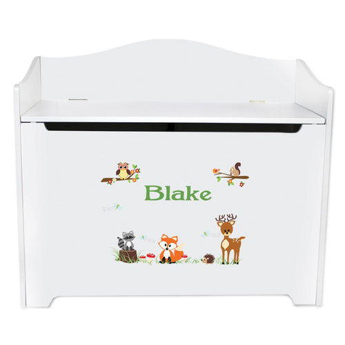 White Wooden Toy Box Bench with Green Forest Animal design