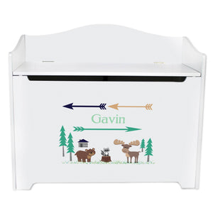 White Wooden Toy Box Bench with North Woodland Critters design