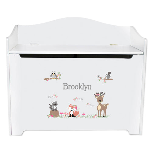 White Wooden Toy Box Bench with Gray Woodland Critters design
