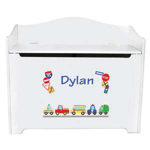 White Wooden Toy Box Bench with Cars and Trucks design