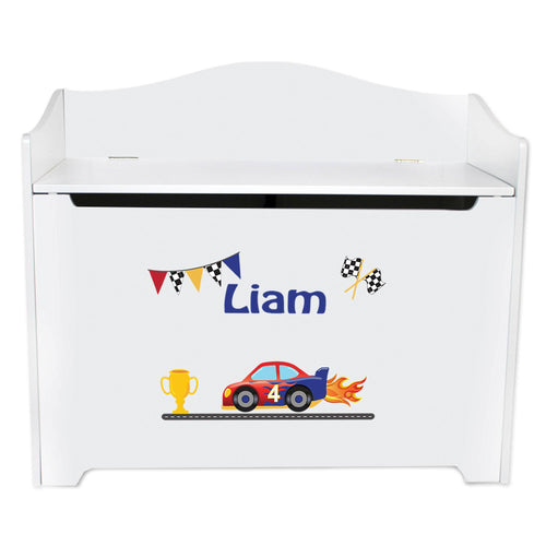 White Wooden Toy Box Bench with Race Cars design