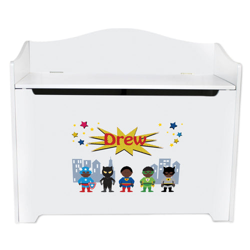 White Wooden Toy Box Bench with Superhero African American design