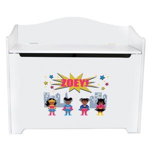 White Wooden Toy Box Bench with Super Girls African American design