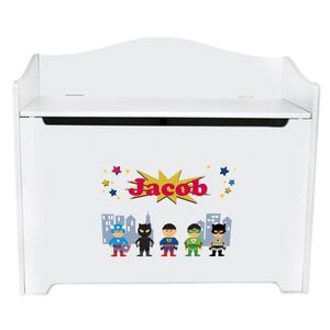 White Wooden Toy Box Bench with Superhero Asian design