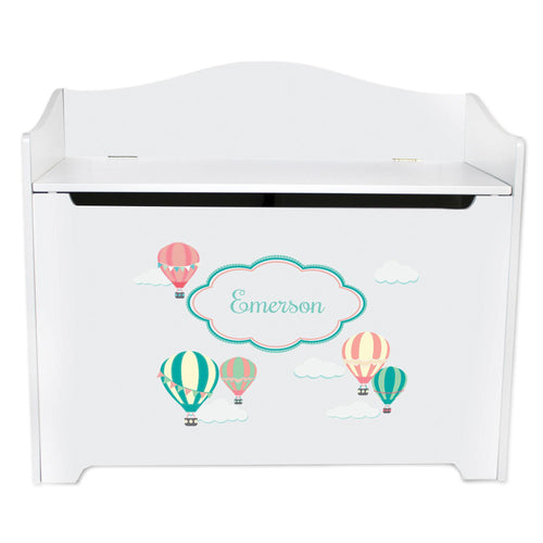 White Wooden Toy Box Bench with Hot Air Balloon design