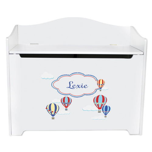 White Wooden Toy Box Bench with Hot Air Balloon Primary design